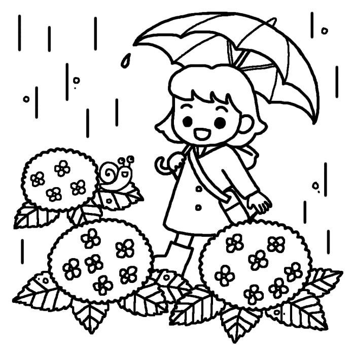 梅雨の白黒イラスト素材