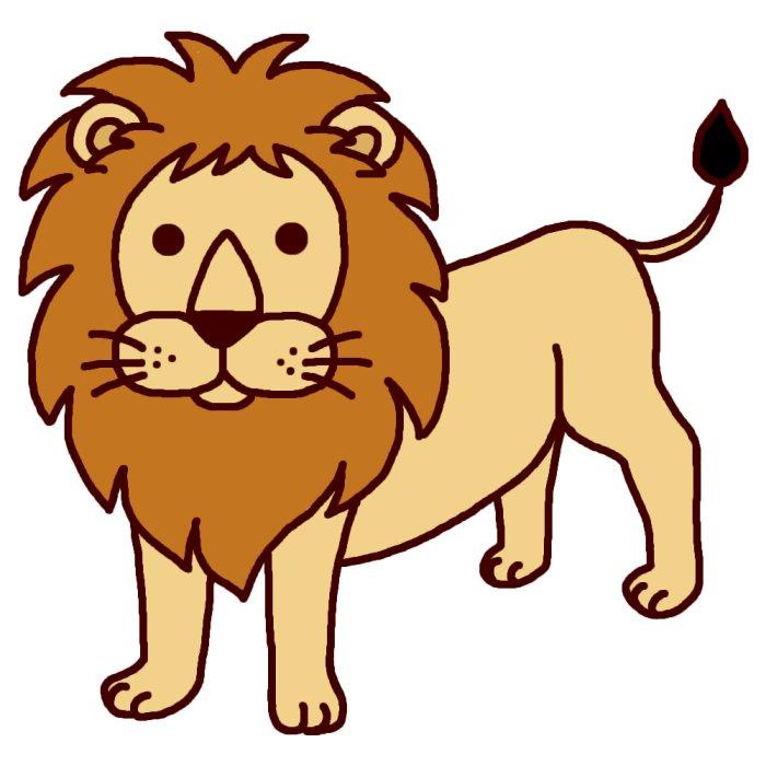 ライオン1(カラー)/陸の大きな動物/無料イラスト素材 ライオン1(カラー)/陸の大きな動物/無